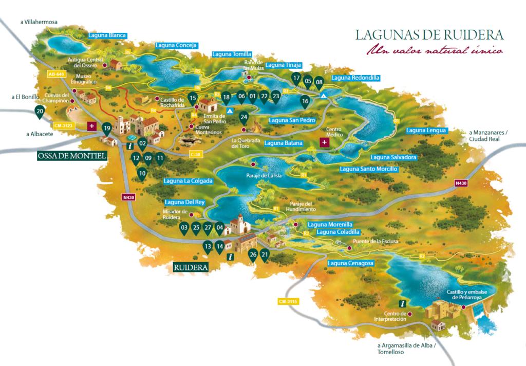 mapa lagunas de ruidera